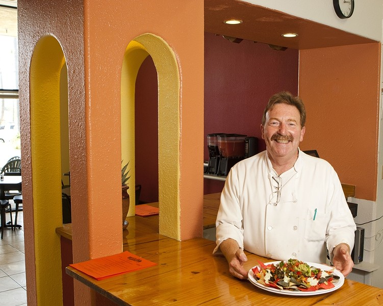 NACHO MAN! :  Alphy's Adobe Grill is new to Pismo Beach, but Chef Doug Simpson's fare is already a hit. - PHOTOS BY STEVE E. MILLER