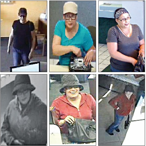BUSY:  Each of these stills shows the suspected Central Coast Bandit, who has robbed five financial institutions since December, three of them in San Luis Obispo County. - PHOTOS COURTESY OF THE FBI