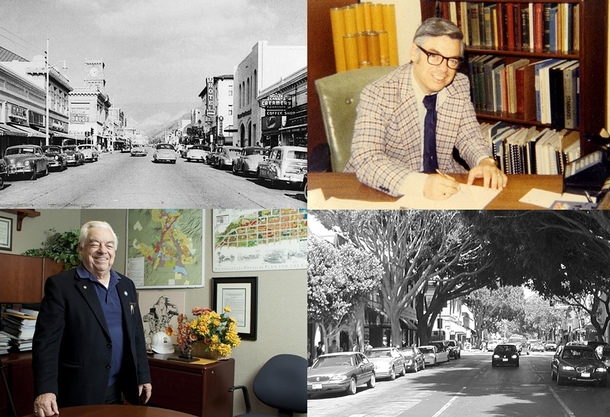 SLO AND ROMERO CLOCKWISE:  SLO in the '50s, Romero in the '70s, SLO in the present day, Romero in his office in 2010 - PHOTO COURTESY OF DAVE ROMERO, 2010 PHOTO BY STEVE E. MILLER