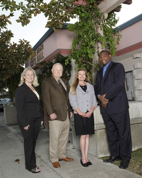MAYOR, MAYOR:  Former Grover Beach mayor John Shoals (far right) and current Grover Beach Mayor Debbie Peterson (far left) have both announced their candidacy for the city's mayoral seat in the Nov. 4 general election. - FILE PHOTO BY STEVE E MILLER