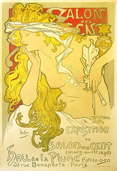 POSTER REVOLUTION:  This poster by artist Alphonse Mucha announced the 20th exhibition of the Salon des Cent held at the premises of the art journal 'La Plume' in 1869. - IMAGE COURTESY OF VINTAGE EUROPEAN POSTERS