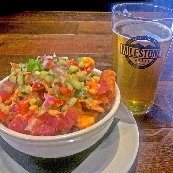 POKE GALORE:  The ahi poke nachos, paired with Barrelhouse's mango IPA, were on point. - PHOTO BY RYAH COOLEY