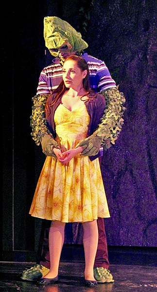 UNLIKELY LOVE :  Trudy (Katie Worley Beck) finds herself falling for The Creature (Jake Delaney), a golfer cursed to live as a hideous swamp thing in the Blacklake Golf Course Lagoon, in the Great American Melodrama's 'Trudy and the Beast.' - PHOTO COURTESY OF LYNDA MONDRAGON