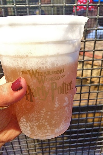 BUTTERBEER ME:  Grabbing a pint of butterbeer while at the Wizarding World of Harry Potter is a must. Think cream soda/butter scotch flavors on steroids topped with the creamiest foam. It comes chilled or frozen. - PHOTO BY RYAH COOLEY