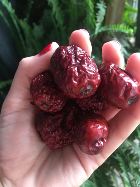 HANDFUL OF HEALTH Rich in flavonoids and phenols, these plum-like dried jujube fruits taste faintly of apple and showcase a complexity of phytonutrients. - PHOTO BY HAYLEY THOMAS CAIN