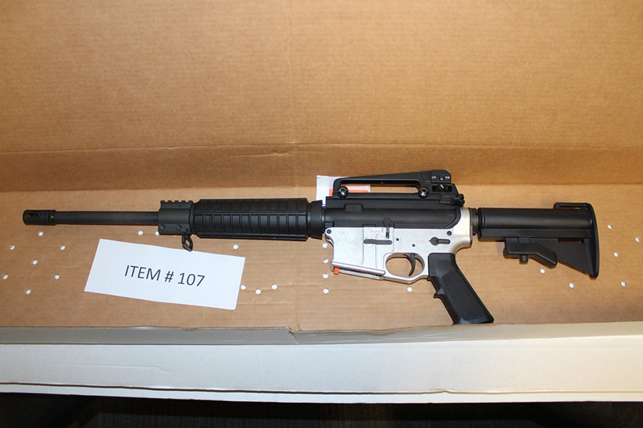 DEADLY FIREPOWER This AR-15-style rifle was one of several guns reportedly kept by the drug trafficking organization. - PHOTO COURTESY OF SLO COUNTY SHERIFF'S OFFICE