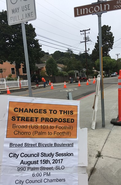 BIKE CITY SLO city will go back to the drawing board on plans for a bike boulevard on Broad and Chorro streets between downtown and Foothill Blvd. The City Council turned down all three design options presented on Aug. 17. - PHOTO BY PETER JOHNSON
