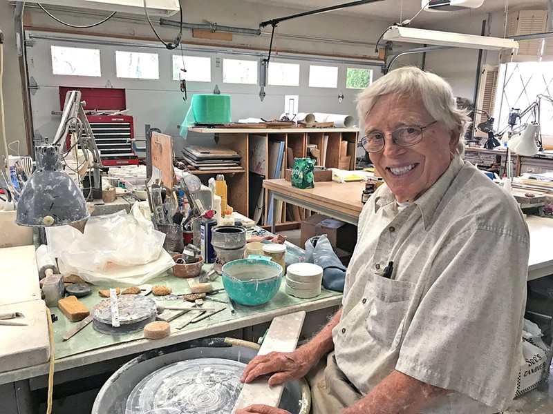 THE ARTIST AT HOME At nearly 93, ceramic artist Don Frith is still making stunning teapots that sell for up to $600. Frith continues to use the original ceramic wheel he has been working with for more than 50 years. - PHOTO BY REBECCA ROSE