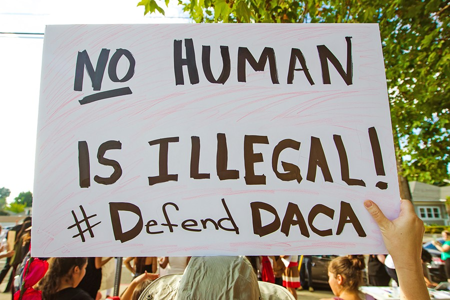 UNITED On the day of Trump's announcement to end DACA, a crowd gathered on Marsh and Pepper streets to rally for the program and its recipients. - PHOTO BY JAYSON MELLOM