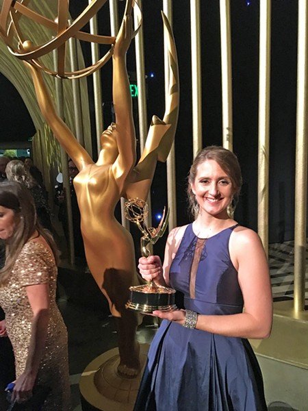 AND THE AWARD GOES TO … Paso Robles native Jamie Martin stands with her Emmy at the awards show in Los Angeles in September. Martin won for video editing on the popular reality television show RuPaul's Drag Race. - PHOTO COURTESY OF JAMIE MARTIN
