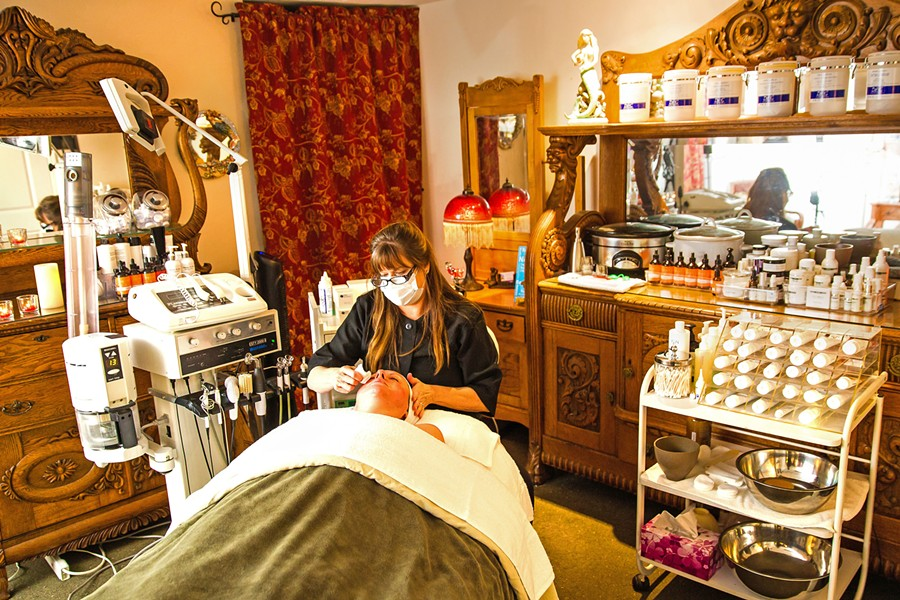 FACIAL LAB A Beautiful Face in Templeton does facials that run the gamut from tech to creams—each one treats a different condition, whether it's acne, wrinkles, or sagging skin. - PHOTO BY JAYSON MELLOM