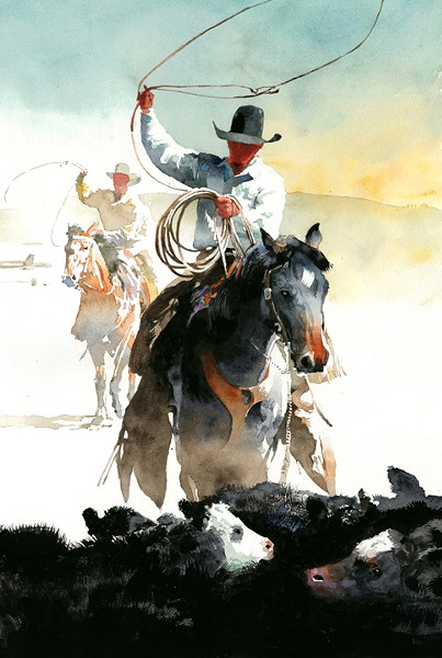 ROUND 'EM UP From competing at the rodeo in his youth to helping out with friends' horses now, Utah artist Don Weller seeks to show joy in pieces like Comes in Swingin'. - IMAGE COURTESY OF DON WELLER