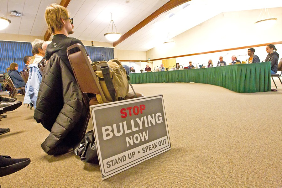 SPEAKING OUT Twelve speakers showed up to the March 13 San Luis Coastal Unified School District board meeting to voice their concerns about bullying in the wake of a hate crime arrest at SLO High School earlier this month. - PHOTO BY JAYSON MELLOM