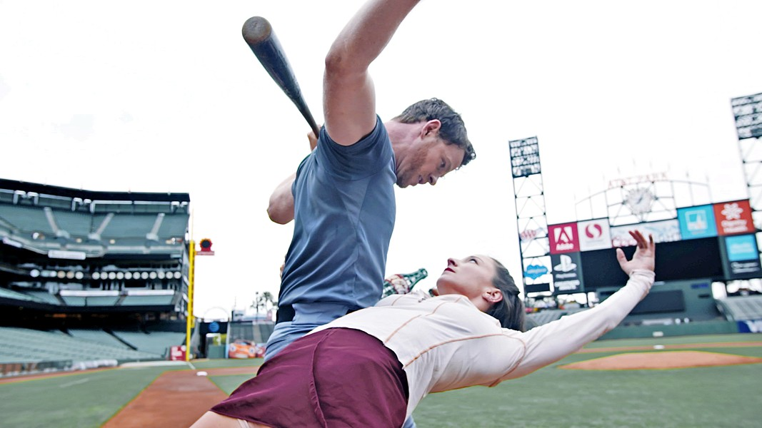 A MAN AND HIS BALL During the creative process of making Baseballet: Into the Game, dancer and former SLOcal Weston Krukow (pictured here with Smuin Ballet dancer Terez Dean) came up with the idea to have the baseball turn into a female dance partner in one of the pieces. - PHOTO COURTESY OF BEN NEEDHAM-WOOD