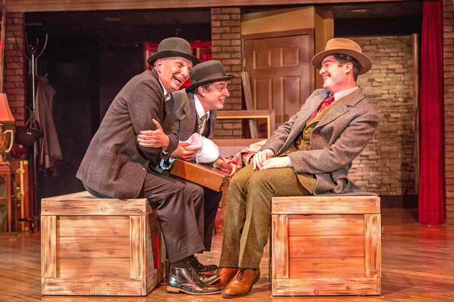 NOTHING TO SEE HERE Richard (Timothy Stewart, right) tries to lay low on a train bound for Scotland while being pursued for murder and sitting across from two chatty lingerie salesmen (Billy Breed and Cameron Parker). - PHOTO COURTESY OF RYLO MEDIA DESIGN