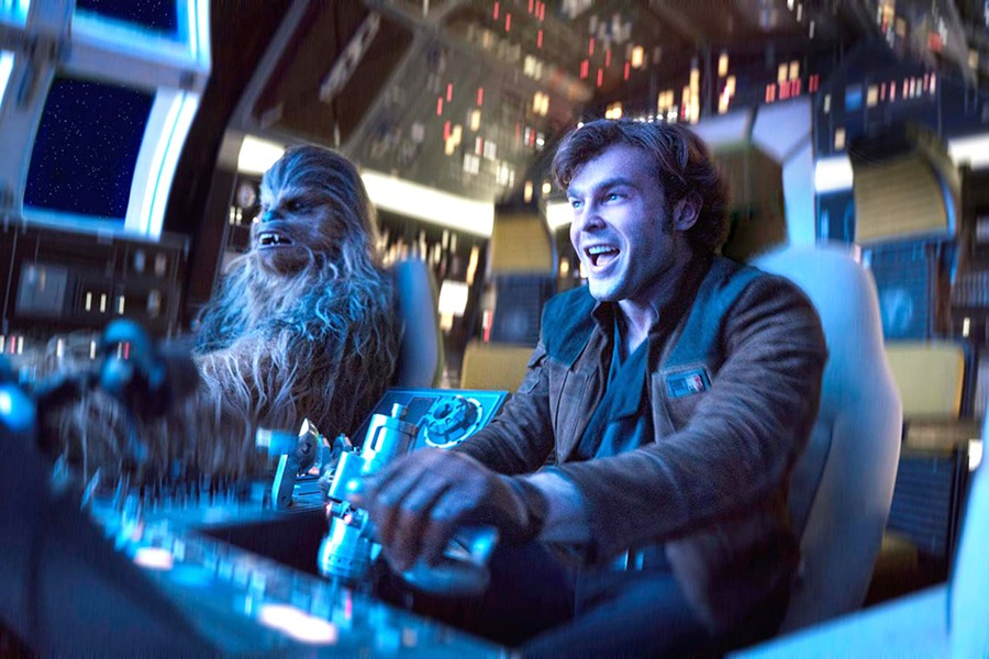 HIT IT! Chewbacca (Joonas Suotamo) and Han Solo (Alden Ehreneich) make their escape in this origin story set long before the rebellion. - PHOTO COURTESY OF WALT DISNEY STUDIOS