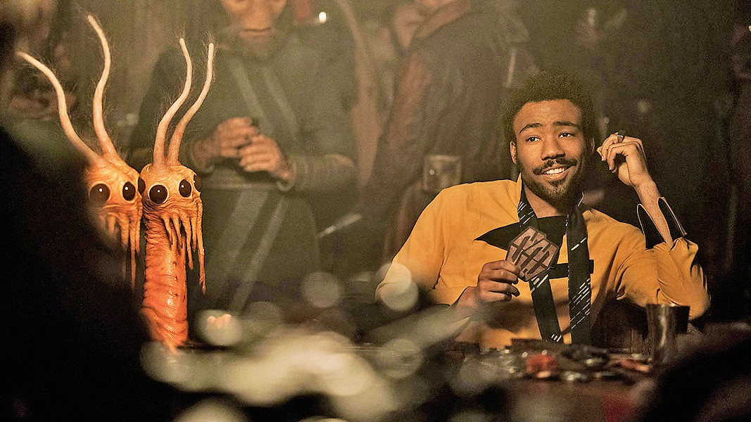 BILLY DEE? Donald Glover channels Billy Dee Williams in his role as notorious gambler Lando Calrissian, from whom Solo won the Millennium Falcon. - PHOTO COURTESY OF WALT DISNEY STUDIOS