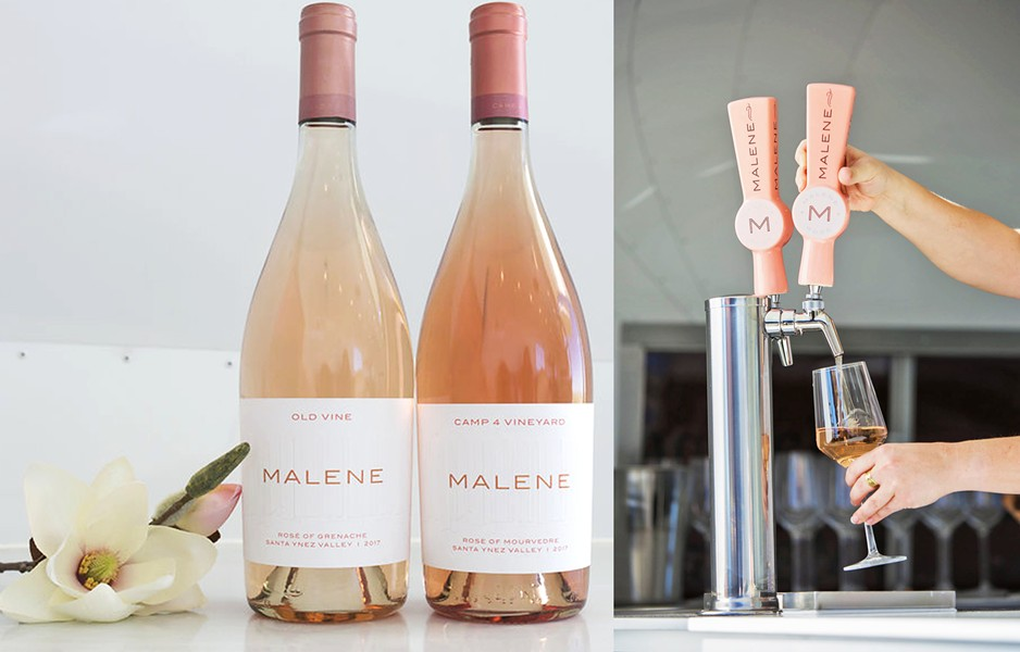 DRINK PINK Newly released Malene rosé wines are ready for summer sipping. Try the slightly bright, spicy, smooth-drinking old vine rosé of Grenache, on tap now in the Malene Scene Airstream. - PHOTO COURTESY OF MALENE