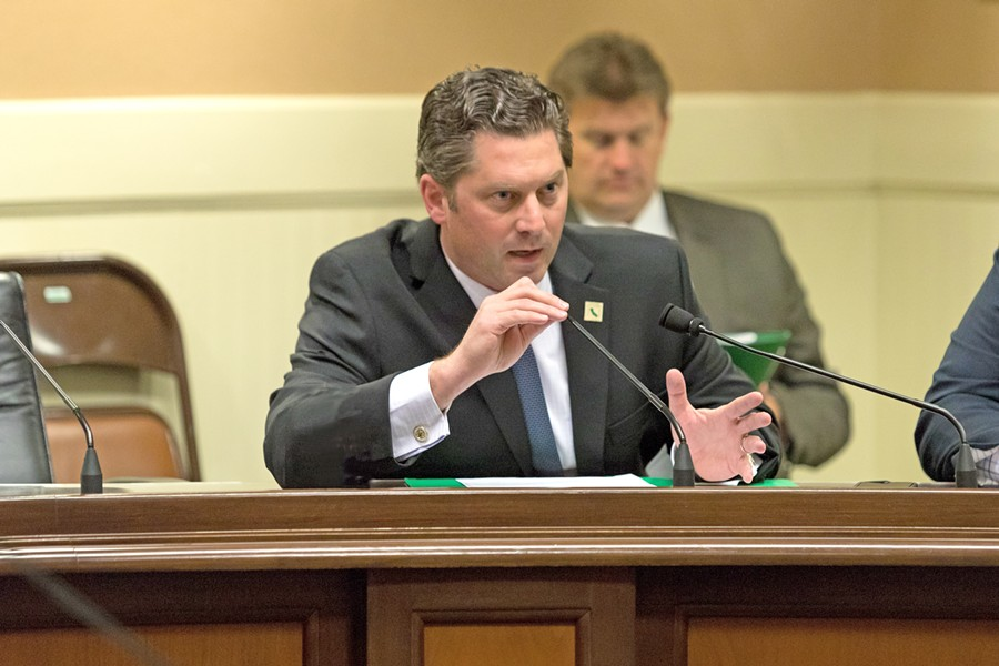 'NO' VOTE 35th District State Assemblyman Jordan Cunningham (R-Templeton) indicated that he would not vote for a proposed bill that would end California's money bail system, taking the opposing side of Ostrander, his challenger in the November election. - FILE PHOTO BY HENRY BRUINGTON