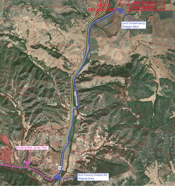 CITY TO SEA SLO County entered into a $1 million contract with Wallace Group on July 10 for design work on the final segment of the Bob Jones Trail, mapped here. - PHOTO COURTESY OF SLO COUNTY