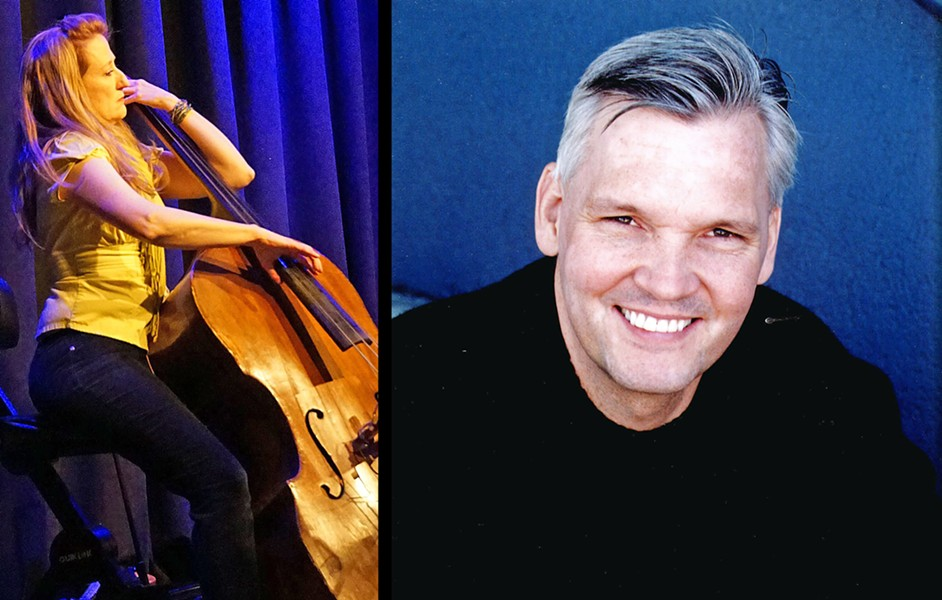 "IMPROV ARTISTS Musician Susan Cahill (left) and actor John Wilkerson (right) will team up to perform ""Sonata for Double Bass and iTunes User Agreement"" at Festival Mozaic on July 20. - PHOTOS COURTESY OF SUSAN CAHILL AND JOHN WILKERSON"