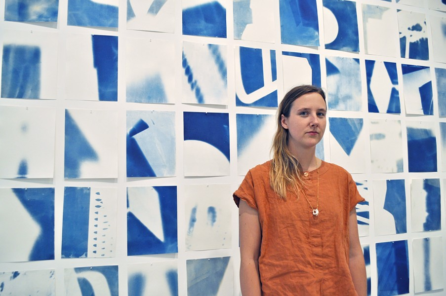 CYANOTYPE IN SLO Dwelling is Bay Area artist Emily Gui's first exhibit on the Central Coast. - PHOTO BY ASHLEY LADIN