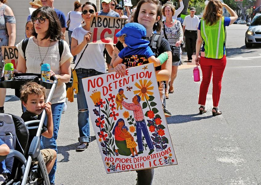 GET OUT Locals rallied against immigration policies at a June 30 protest at the SLO County courthouse (pictured), while candidates running for elected office in November are taking sides on the issue of dismantling U.S. Immigration and Customs Enforcement (ICE). The agency faced heavy criticism for its role in separating undocumented children from their parents at the U.S. border earlier this year. - PHOTO BY ASHLEY LADIN