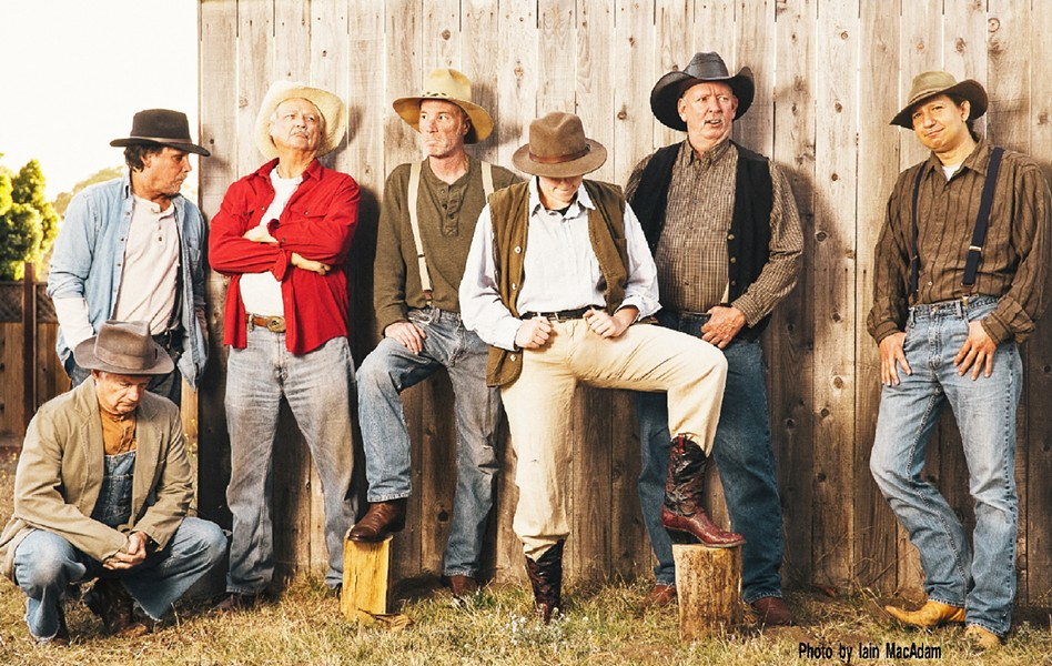 RANCH HANDS The workers at a California ranch struggle to find meaning and connection in their nomadic existence in By the Sea Productions' Of Mice and Men. From left to right: Candy (John Geever), George (Frank Moe), Carlson (Larry Barnes), Slim (Tim Linzey), Curley (M. R. Hall), the boss (Jeff Hall), and Whit (Christopher Blicha). - PHOTO COURTESY OF IAIN MACADAM