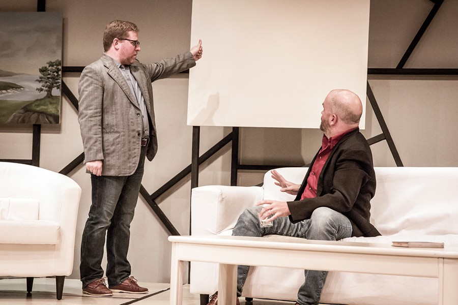 TASTE A pair of friends, Yvan (Timothy J. Cox) and Marc (Travis Mitchell), worry when their other friend buys an all-white painting for $200,000, in the play Art. - PHOTO COURTESY OF THE SLO REPERTORY THEATRE