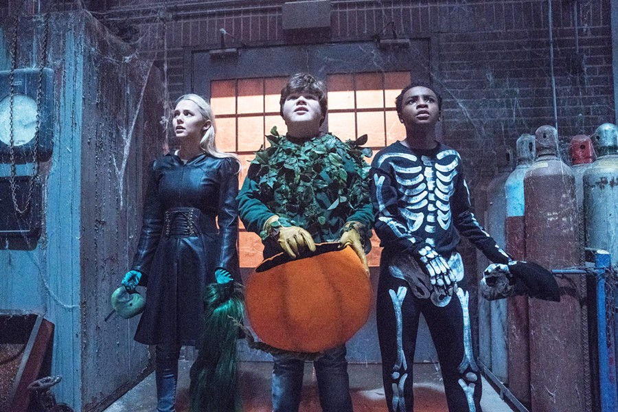 TRICK OR TREAT? Sarah Quinn (Madison Iseman), Sonny Quinn (Jeremy Ray Taylor), and Sam Carter (Caleel Harris) experience strange events during Halloween, in the kids' horror film Goosebumps 2: Haunted Halloween. - PHOTO COURTESY OF COLUMBIA PICTURES CORPORATION