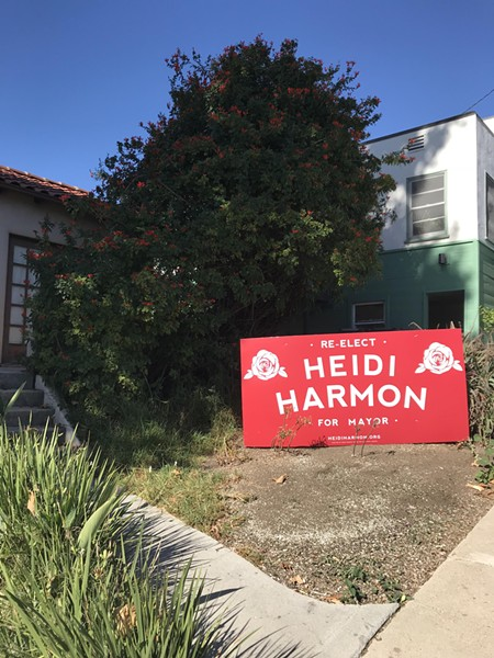 SIGN FIGHT Supporters of SLO mayoral candidate T. Keith Gurnee have alleged that Mayor Heidi Harmon's campaign signs, like this one on Johnson Avenue, are larger than city code allows. But SLO officials say a recent U.S. Supreme Court case has rendered its sign rules unconstitutional. - PHOTO BY PETER JOHNSON