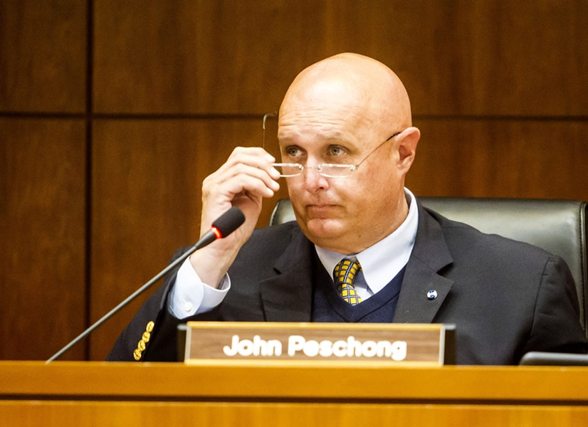 IN THE FIGHT San Luis Obispo County 1st District Supervisor John Peschong is a founding partner of Meridian Pacific, Inc., a political consulting firm that received over $643,000 from the oil industry to run its campaign against Measure G in SLO County. - FILE PHOTO BY JAYSON MELLOM