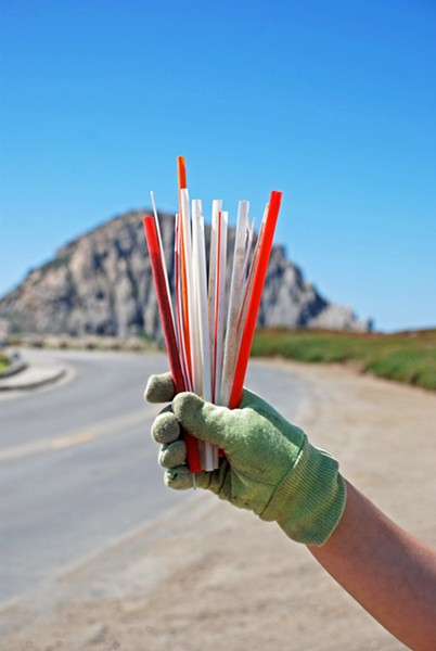 DRAW STRAWS Plastics are one of the top pollutants on SLO County beaches. ECOSLO tries to address that through a new monthly coastal cleanup program called Beach Keepers. - PHOTO COURTESY OF ECOSLO