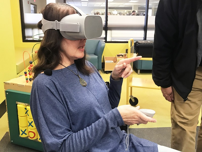 SO REAL A SLO County Library patron tries out the Oculus Go, a virtual reality device made by Facebook. The Oculus Go is just one device that can be checked out as part of the Mobile MakerKit program. - PHOTOS COURTESY OF THE SLO COUNTY LIBRARY