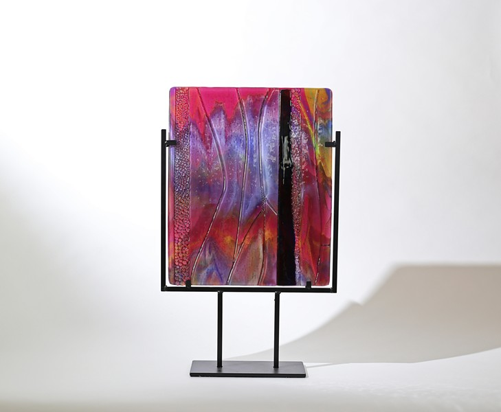 REFLECTIVE Scarlet Ways, by Stephanie Wilbanks, is a kiln-formed art glass piece. Her work focuses on color and light. - IMAGE COURTESY OF STEPHANIE AND KEN WILBANKS