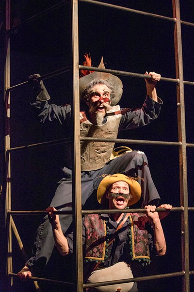 PLAY WITHIN A PLAY Students Tony Costa (Miguel de Cervantes/Don Quixote/Alonso Quijana) and Nicholas Coffeey (Cervantes' manservant/Sancho Panza) perform in Cuesta College's Man of La Mancha, which took home 14 national awards in the spring of 2018. - PHOTOS COURTESY OF CASEY WIEBER