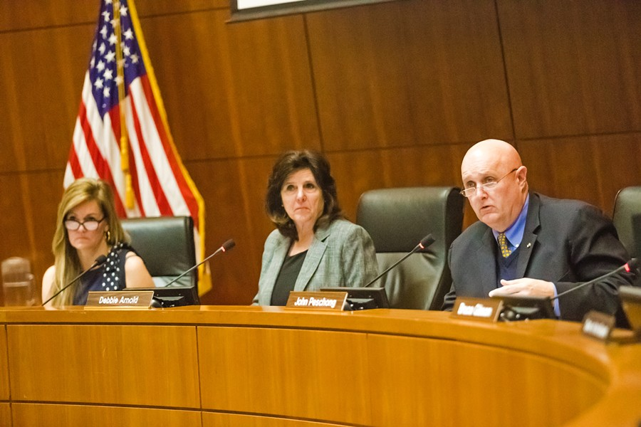 STATUS QUO SLO County supervisors (pictured) voted against allocating funds to administer an all-mail election in 2020. - PHOTO BY JAYSON MELLOM