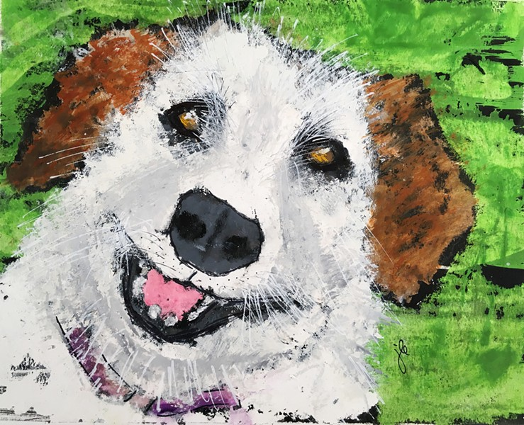 OH, BE JOYFUL When Arroyo Grande artist Jeri Edwards looks at a dog, she sees a pure, unbridled joy that she tries to capture in pieces like Smiley. - IMAGES COURTESY OF JERI EDWARDS