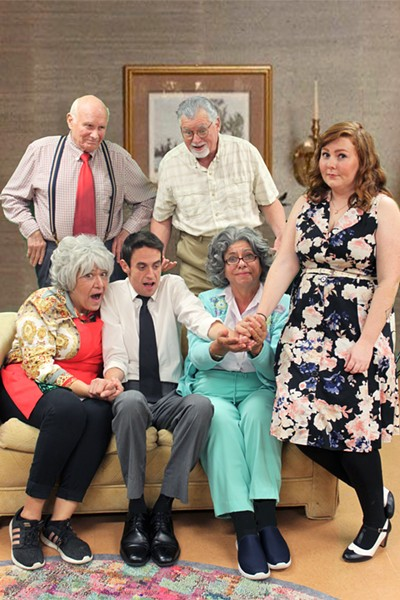 FAMILY TIES Nicky (Greg DeMartini, left of center) struggles to choose between taking a job promotion in Seattle and staying close to his grandparents in New York. Pictured: Dori Duke, seated left, as Grandma Aida; DeMartini as Nicky; Cynthia Anthony as Grandma Emma; Haley Przybyla as Caitlin, standing right; Bill Jackson as Grandpa Frank, standing left; and Tracy Mayfield as Gramps Nunzio, standing center. - PHOTO COURTESY OF WINE COUNTRY THEATRE