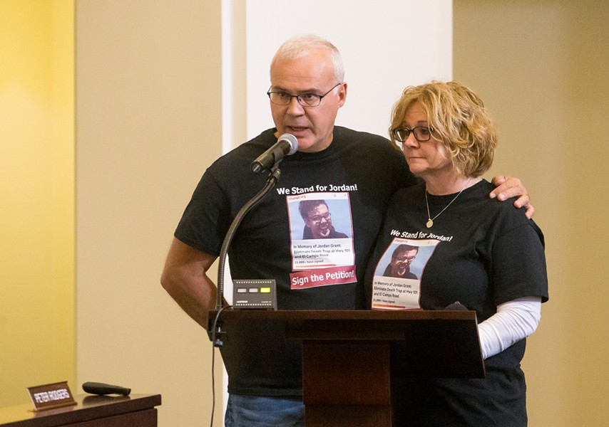 ELIMINATING DANGER In memory of their son, James and Becky Grant speak at the SLOCOG meeting on April 3, continuing their push for closure of the intersection where their son was fatally injured. - PHOTO BY JAYSON MELLOM
