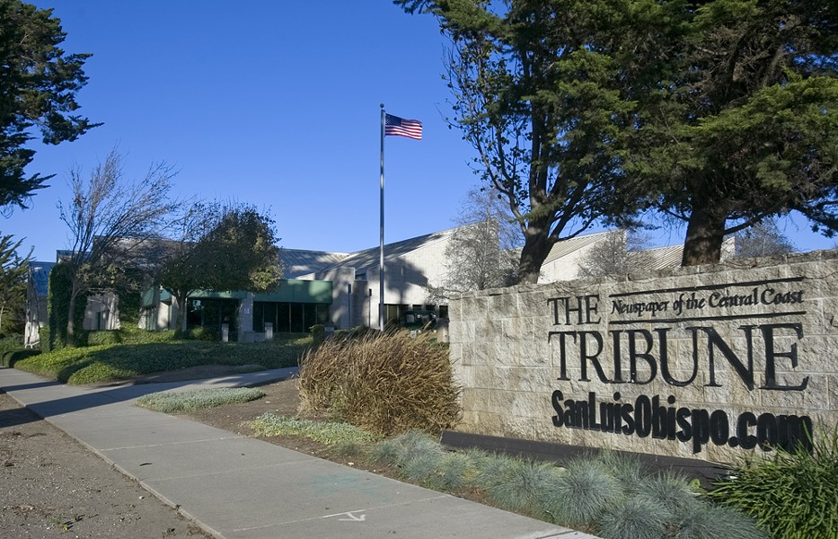END OF AN ERA The Tribune, SLO County's daily newspaper, is moving to new offices at 735 Tank Farm Road. April 11 marked its last day in a building on South Higuera Street (pictured), where the paper has been based since 1993. - PHOTO COURTESY OF THE SAN LUIS OBISPO TRIBUNE