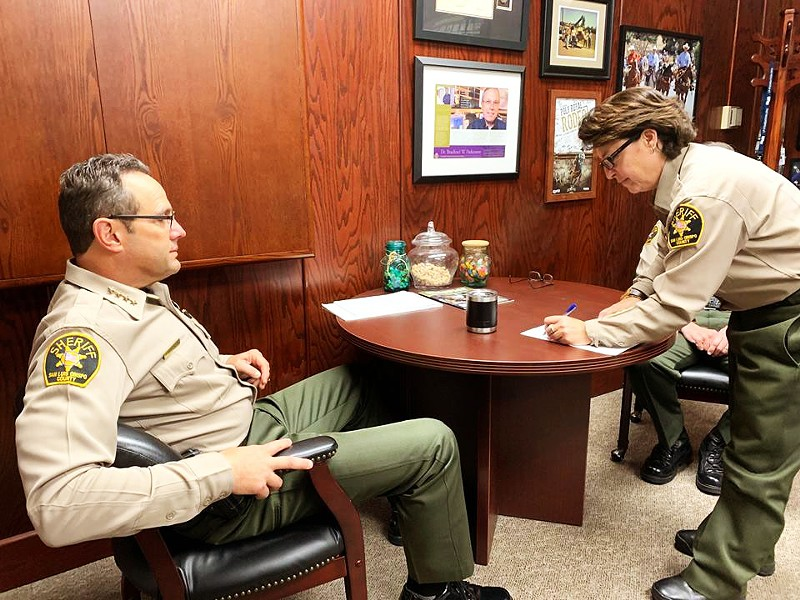 HIRING San Luis Obispo County Sheriff-Coroner Ian Parkinson (left) said a decline in lateral recruits from other agencies is contributing to longer vacancy periods as new, young deputies complete their required training. - PHOTO COURTESY OF THE SLO COUNTY SHERIFF'S OFFICE