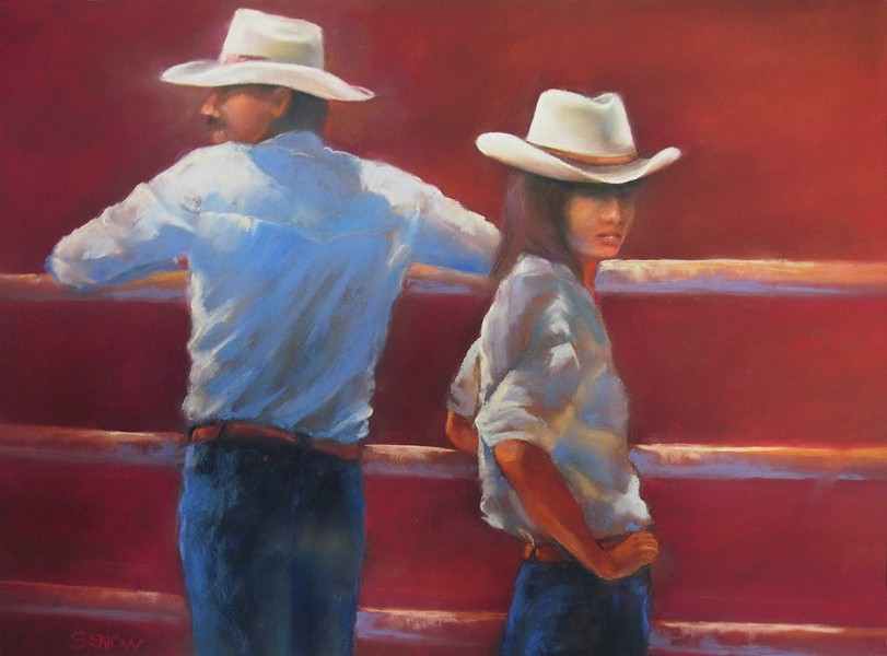 RODEO People watching at a rodeo event at the California Mid-State Fair inspired Paso Robles artist Shelley Snow to create a series of pastel paintings, including Hangin' Out. - IMAGE COURTESY OF SHELLEY SNOW