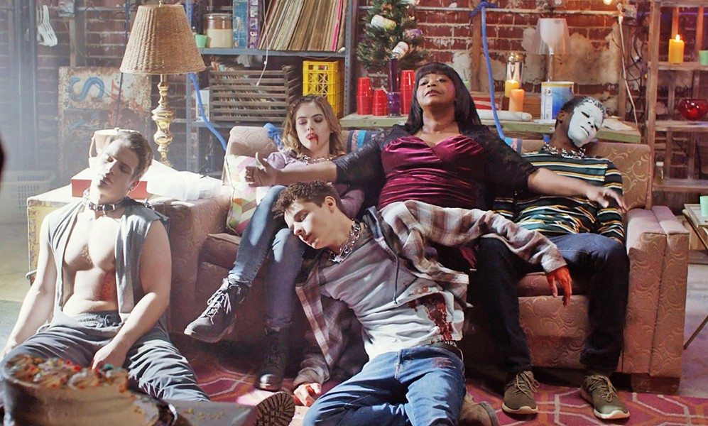 GET WEIRD A lonely woman (Octavia Spencer, seated center) meets some teens and lets them party in her basement, but she's soon taking advantage of them, in the horror-thriller, Ma. - PHOTO COURTESY OF BLUMHOUSE PRODUCTIONS