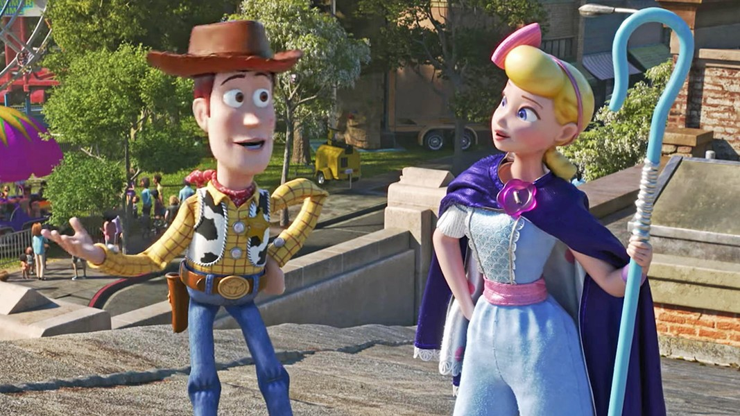 TOYS TO THE RESCUE Woody (voiced by Tom Hanks) and Bo Peep (voiced by Anne Potts) reunite in Toy Story 4. - PHOTO COURTESY OF PIXAR ANIMATION STUDIOS