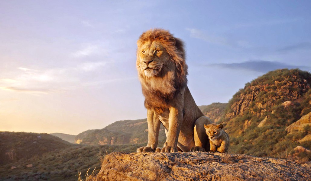 LIONAGE Musafa (left, voiced by James Earl Jones) tries to instill his code of honor to his young son Simba (voiced by JD McCrary), in the photorealistic-animated remake of The Lion King. - PHOTO COURTESY OF WALT DISNEY PICTURES