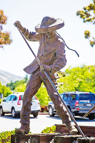 CITY ART DEBATE The San Luis Obispo City Council plans to ban public art of specific people in favor of concept-based art like this anonymous Chinese rail worker at SLO's Amtrak station. - FILE PHOTO BY JAYSON MELLOM