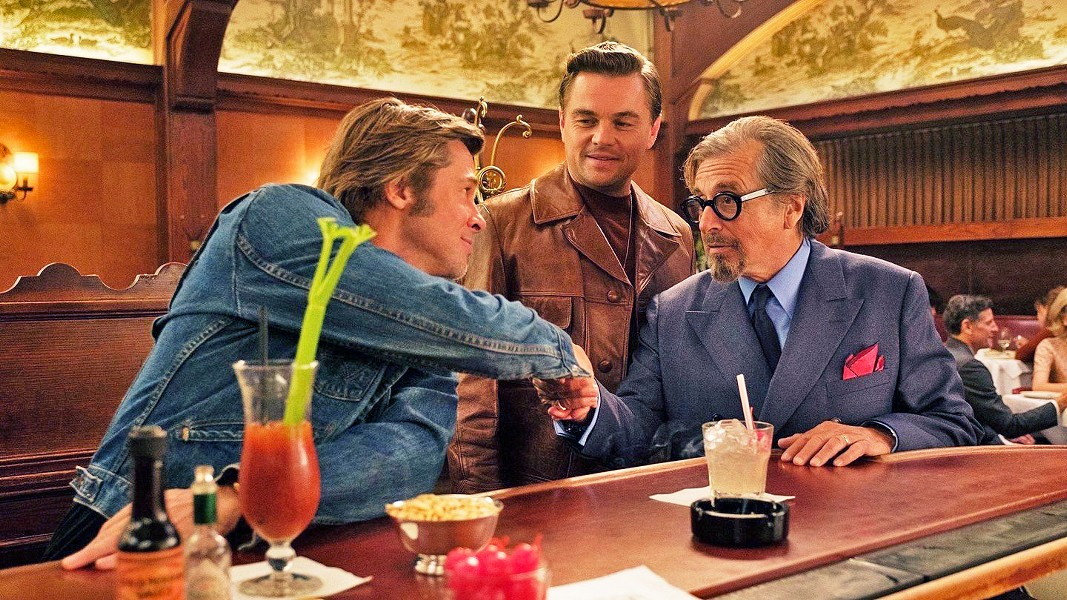GOLDEN HOLLYWOOD Cliff Booth (Brad Pitt, left), TV star Rick Dalton's (Leonardo DiCaprio, center) stunt double, meets producer Marvin Schwarzs (Al Pacino, right), in Quentin Tarantino's ninth film, Once Upon a Time ... in Hollywood. - PHOTO COURTESY OF SONY PICTURES ENTERTAINMENT
