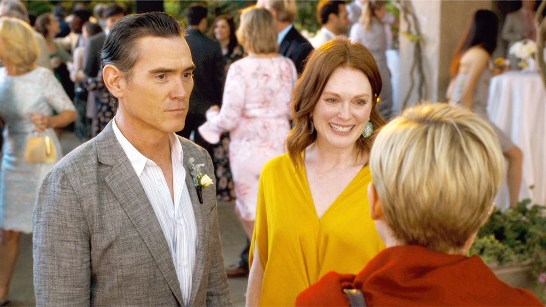 AWKWARD Oscar (Billy Crudup) attempts his best poker face upon realizing his wife (Julianne Moore) has invited his ex-girlfriend (Michelle Williams) to their daughter's wedding. - PHOTOS COURTESY OF SONY PICTURES CLASSICS