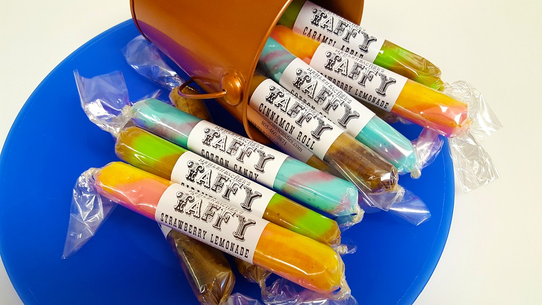 FAVORITE FLAVORS Mehlenbacher's Taffy features 20 or so regular flavors—including orange cream, huckleberry, watermelon, raspberry, grape, cherry, cotton candy, and peanut butter cup—which are about $1.99 per piece. - PHOTO COURTESY OF ALICIA HIMELSON
